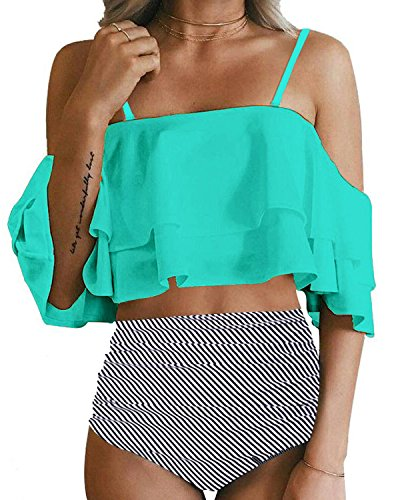 Tempt Me Women Two Piece Swimsuit High Waisted Ruffled...