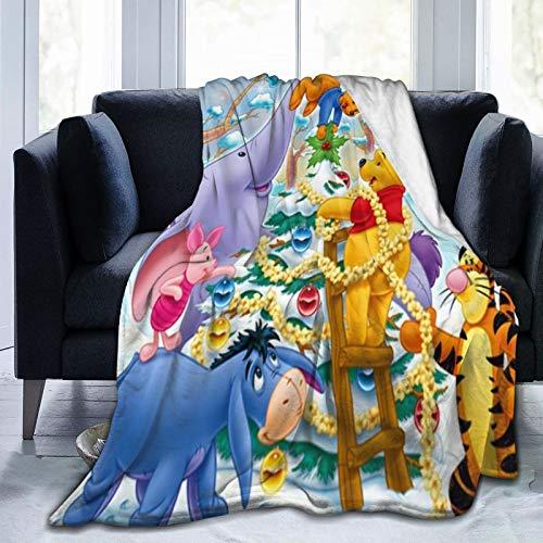 Manta de franela, Winnie The Pooh, manta suave, mullida y mullida, de forro polar, felpa, manta de microfibra de tamaño doble para sofá cama, sofá de 50 x 40 pulgadas
