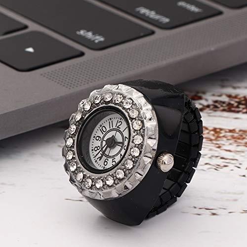 wosume Reloj de Anillo Brillante, Reloj de Cuarzo Informal de Moda con Dedo de Diamantes de imitación, aleación de Chicas Hermosas para Mujeres(Black)
