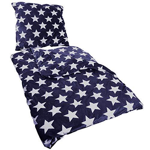 Proheim Star Parure de lit thermique 2 pièces avec housse de couette de 135 x 200 cm et taie d'oreiller de 80 x 80 cm, Motif étoiles, Surface en Micromink douce et douillette, Microfibre, bleu foncé, 135 x 200 cm + 80 x 80 cm