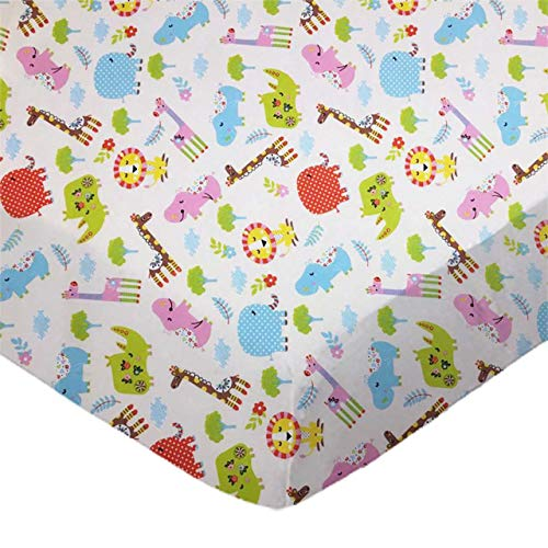 %41 OFF! SheetWorld Fitted 100% Cotton Percale Pack N Play Sheet Fits Graco 27 x 39, Safari Animals ...