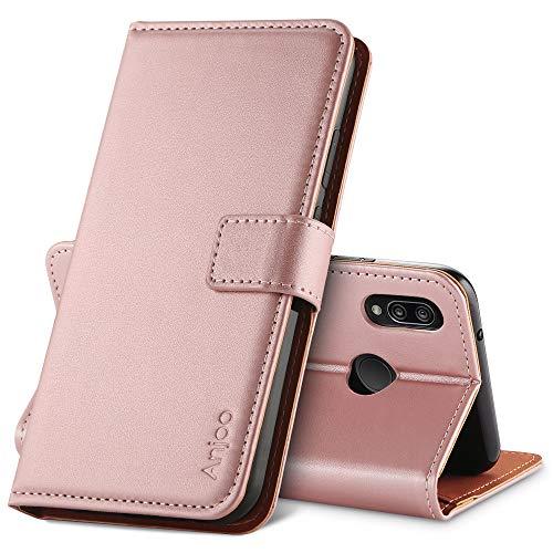 Anjoo Funda Compatible con Huawei P20 Lite,Carcasa Cuero Suave de la PU con Tapa Cubierta Protectora de la Caso Trasera [Función de Soporte],Rosada