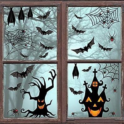 CCINEE 90pcs Halloween Window Clings, 6 Sheet Black Bats Spiders Webs Window Clings Decals Stickers for Halloween Party Decorationn Supplies