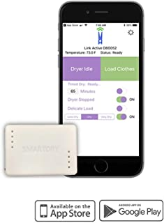 SmartDry Wireless Laundry Sensor and App, iOS and Android Mobile Devices. Compatible with Alexa. Smart Dry Notifications for any Clothes Dryer (Gas or Electric), Smart Home Clothes Dryer Accessory