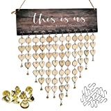 ATOBART Birthday Reminder Board - DIY Wooden This is us Decorative Tracker Plaque Wall Hanging Family Decor with 100 Wood Slices 1 Adhesive Hooks 12pcs Small Gold Bell and 1 Marker Pen