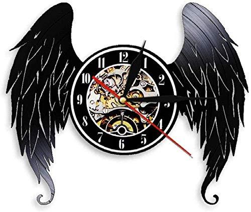 Reloj de pared de vinilo con alas negras de vinilo, reloj de pared moderno para decoración del hogar, decoración retro de la sala de estar, regalo hecho a mano, 30 cm de diámetro