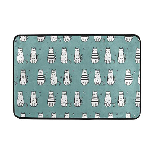 FANTAZIO deurmatten voor ingang weg buiten zwart en wit Cat Area tapijt Rechte tapijt Gripper voor keuken/badkamer 23.6x15.7in