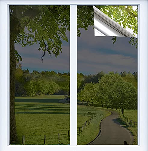 BeIM Spiegelfolie Rrflektierende Fensterfolie Selbstklebend Wärmeisolierung Folie Fenster innen Anti UV Sonnenschutzfolie für Büro Hause Silber (Silber, 40x400cm)