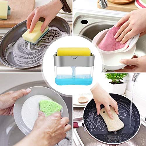 Aeakey Soap Dispenser,Dish Soap Dispenser for Kitchen,Sponge Holder Sink Dish Washing Soap Dispenser 13 Ounces (Silver)