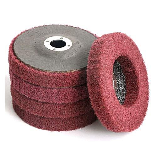 SSXPNJALQ 5Pcs 4-Zoll-Nylon-Faser-Flap Disc Polierschleifscheibe, Topfreiniger Polierscheibe for Winkelschleifer Promotion (Color : Red)