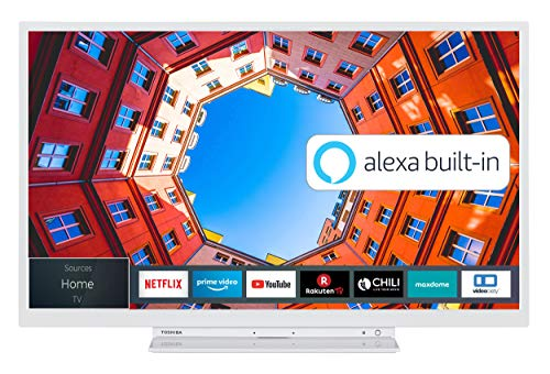 Toshiba 32WK3C64DA 32 Zoll Fernseher (HD ready, Smart TV, Prime Video / Netflix, Alexa Built-In, Bluetooth, WLAN, Triple Tuner), weiß