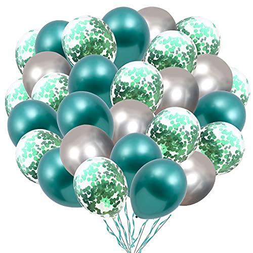 Luftballons Grün Metallic Silber Ballons,60 Stück 12 Zoll Luftballons Geburtstag Silber Grün Konfetti Helium Mint Balloons für Taufe Kinder Garten Deko Dschungel Party Hochzeit Valentinstag