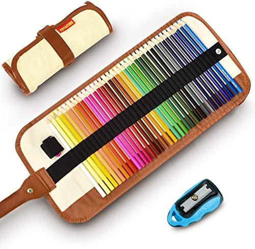 Färgpennor set med 36, Covacure bärbar kanvas pennvässare resa färgpennor för barn och vuxna teckning målarböcker (Khaki)