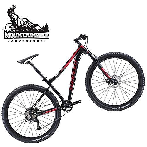 NENGGE Adulti Mountain Bike con Freno a Disco Idraulico per Uomo/Donna, Leggero 9 velocità Mountain Biciclette, Sospensioni Anteriori & Telaio Lega di Alluminio,Black s,27.5 inch