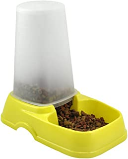 New Automatic Pet Bowl Pet Cat Dog Rabbit Food Water Feeder Dispenser Easy Clean Travel (Yellow)