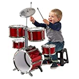 Kids Drum Kit 7 Piece for Beginners Red with Stool Musical Instrument for Children