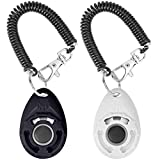 Acehome 2 Pack Dog Training Clicker with Wrist Strap, Pet Training Clicker with Big Button Effective Behavioral Training Tool for Cats Birds Puppy Recall (Black & White)