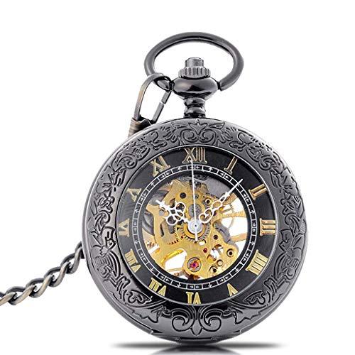 Reloj de Bolsillo Vintage Reloj de Bolsillo mecánico para Hombre Acero de tungsteno Color Retro Reloj de Bolsillo con Tapa Reloj de Bolsillo con Escala Romana Números de Regalo de cumpleaños