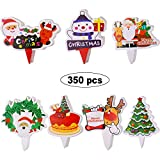 Blulu 350 Pieces Christmas Cupcake Toppers Pick Set Cake Topper Decoration with Santa Claus Snowman Tree Reindeer Design for Christmas Cake Decoration Party Supplies Notebook, 7 Styles