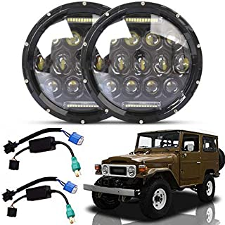 2Pcs 7 Inch LED Round Headlights 75W Headlamps Hi/Lo Beam Day Running Light H6024 with H4 H13 Adaptors for Toyota Land Cruiser FJ40-2 Year Warranty