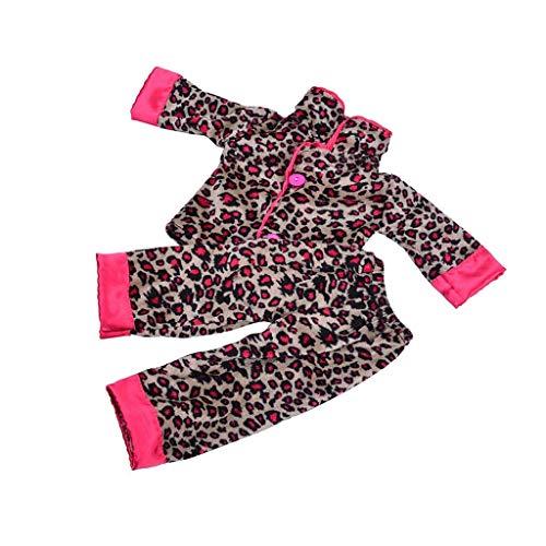 Wacemak1r Pyjama mit Leopardenmuster, handgefertigt, 45,7 cm American Girl Journey Puppe
