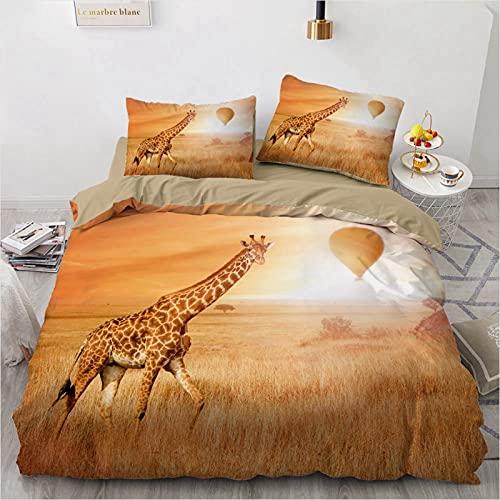 ZHUOYU Juego de ropa de cama y funda de almohada con diseño de jirafa, diseño de estampado 3D, cómodo y suave, tridimensional, funda nórdica mullida (A,220 cm x 260 cm)