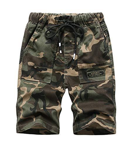 YoungSoul Jungen Shorts Camouflage Tarnhose Sommer Bermudas Kinder Kurze Hosen mit Gummizug Armeegrün 128-134/Größe 140
