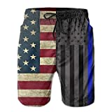 Henhao5 American Thin Blue Line Flag Men's Swim Trunks Quick Dry...