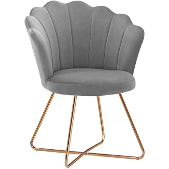 Duhome Velvet Fabric Accent Chair with Golden Metal Legs Leisure Vanity Chair Makeup Chair Guest Chair Tufted Desk Chair Reception Chair for Desk for Living Room, Bedroom Dresser, Dress Room, Grey