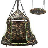 2 in 1 Hanging Tree Swing Tent, Flying Saucer Tree Swing for Boys/Girls, Tree Straps Included, Outdoor Indoor Bedroom Use for Children