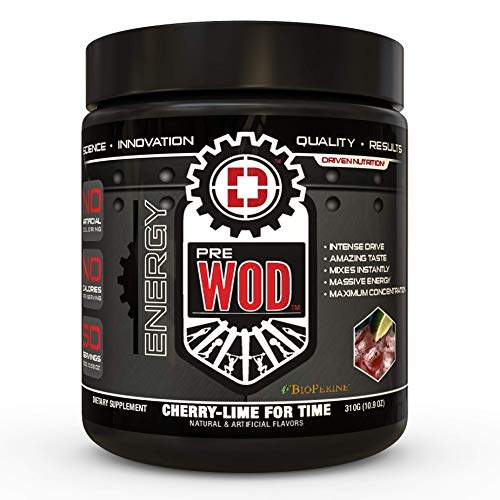 PREWOD Pre Workout - Creatine Free Nitric Oxide (NO) Boosting Preworkout Supplement | Caffeine, Citrulline Malate, Beta Alanine | Focus & Energy Drink Powder (Cherry Lime for Time, 50 Servings)