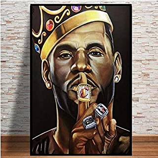 Frameless Oil Painting 50x75cm Lebron James Super Basketball Star Champion King Painting Poster Art Canvas Wall Print Deco...