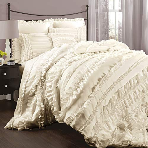 Lush Decor Belle Ivory Comforter Ruffled Shabby Chic 4 Piece Set with Bed Skirt and 2 Pillow Shams, Full/Queen