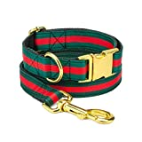 Green and Red Striped Designer Dog Collar and Leash Set, Adjustable with Gold Metal Hardware for X-Small, Medium X-Large Breeds
