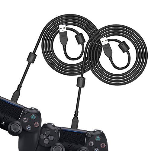 6amLifestyle Cable de Carga del Mando PS4 y Xbox One 3m [2- Unidades] 12 Meses de GARANTÍA/Carga Rápida 2.4A / Transferencia hasta 480Mbps,  Cable Micro USB Compatible con Kindle Auriculares y Más