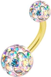 Piercing Titanio Dorado Banana, Bolas Multi Cristales, Aurora Borealis | 6-16 mm