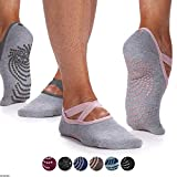 Gaiam Yoga Barre Socks | 2 Pack | Non Slip Sticky Toe Grip Accessories for Women & Men | Pure Barre, Yoga, Pilates, Dance | One Size Fits Most, Folkstone