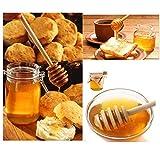 JZK 50 x Holz Honiglöffel Honigheber Honigspirale Honigstab 8cm zum Hochzeit Geburtstag Babydusche Weihnachten Party Dessert Werkzeug - 6