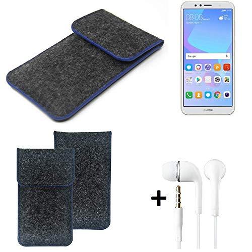 K-S-Trade Filz Schutz Hülle Für Huawei Y6 (2018) Dual-SIM Schutzhülle Filztasche Pouch Tasche Handyhülle Filzhülle Dunkelgrau, Blauer Rand Rand + Kopfhörer