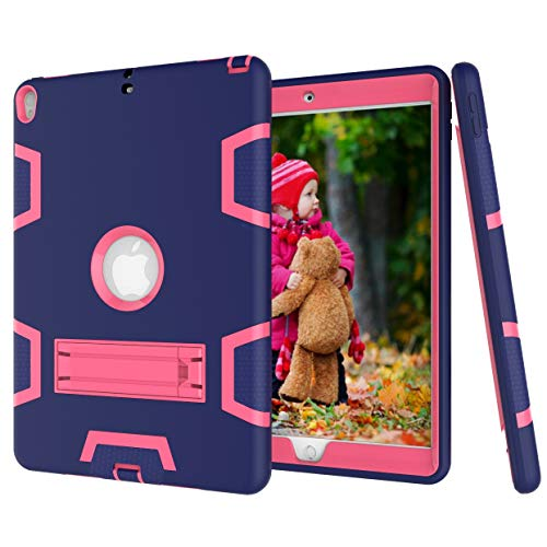 Ipad case Contrast Color Silicone + PC Shockproof Case for iPad Air 2019 10.5 inch/Pro 10.5 inch, with Holder Asun (Color : Navy Blue+Rose Red)