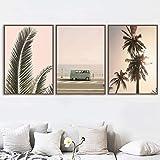 OKYQZ Nordic (Giclee Artwork) Pintura de Pared Sea Beach Palmera Bus Arte de la Pared Posters Imágenes de paisajes para la decoración de la Sala de Estar (70x90cm) X3 Sin Marco