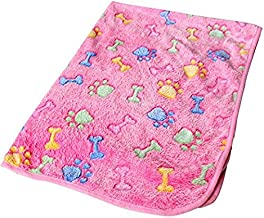 Pengcher Warm Pet Mat Bone Print Cat Dog Puppy Fleece Soft Blanket Bed Cushion Pink Bone for Pet Dog Blanket