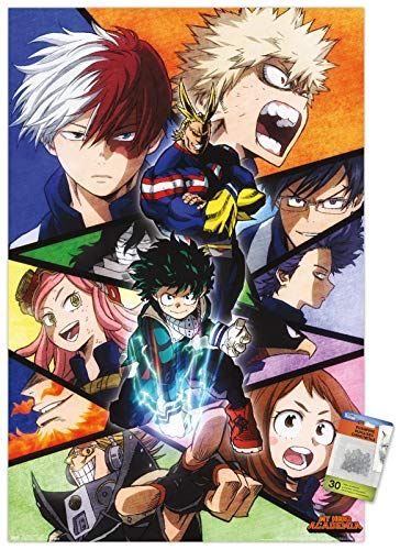 Trends International My Hero Academia - Faces Wall Poster with Push Pins,'22.375'' x 34'''