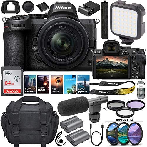 Nikon Z5 Mirrorless Digital Camera with 24-50mm Lens Bundle +Shotgun Microphone + 64GB Memory, LED Video Light and Premium Accessory Kit