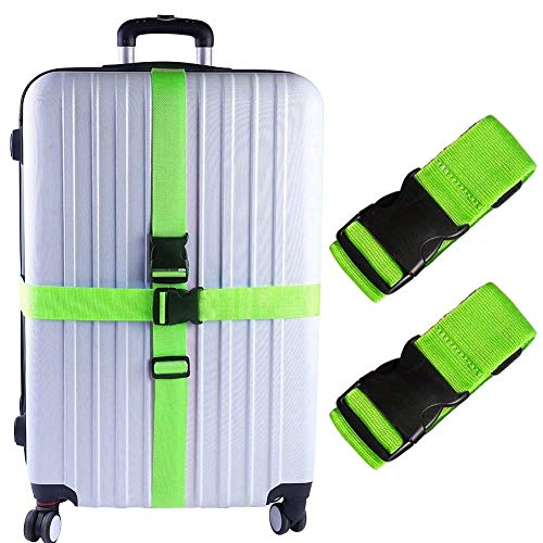 KAEHA S-IT-002-03 2 PCS valigie Accessori da Viaggio Cinghie per Bagagli, Taglia Unica, Verde