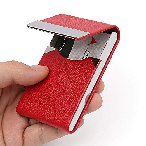 DMFLY PU Leather Business Card Holder for Women Leather Stainless Steel Business Card Case Professional Business Name Card Holder with Magnetic Shut, Red