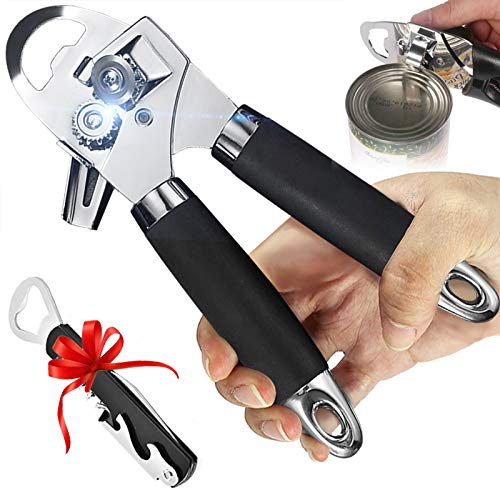 Manual Can Opener, Kitchen Tin Openers That Work Simple, 3 in 1 Heavy Duty Stainless Steel Bottle Opener with Ergonomic Designed Comfort Grips, for Elderly, Arthritic Hands, Left Handed, Easy to Use.