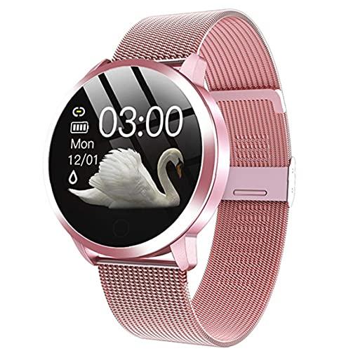 Odoukey-Smart Watch Smart Relojes Q8 Pulsera inteligente impermeable con correa de metal Prueba de frecuencia cardíaca Paso Contador Ciclo menstrual para mujeres rosa