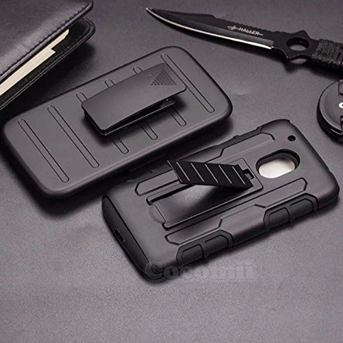 Motorola Moto G4 / G4 Plus Funda, Cocomii Robot Armor New [Heavy Duty] Premium Belt Clip Holster Kickstand Shockproof Hard Bumper Shell [Military Defender] Full Body Rugged Cover Case Carcasa (Black)