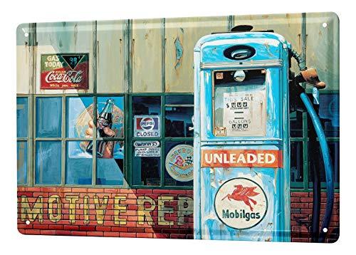 LEotiE SINCE 2004 Blechschild Georg Huber Retro US Nostalgie Deko Oldtimer Tankstelle American Vintage Gas Station 20x30 cm